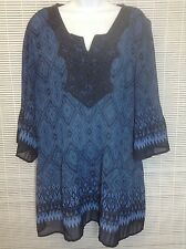 f6f658e3ad CATHERINES Women Top Tunic Blue Crinkle Pleat V Neck Crochet Embellished  14/16