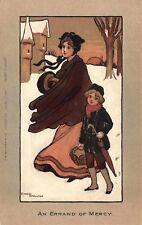 Ethel Parkinson artwork Postcard Mother & Son An Errand of Mercy in Snow~116697