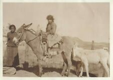 Vintage Photo by Harmon Percy Marble, Young Navajo lady and Donkey 1911s