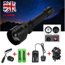 T50mm Infrared IR 850nm Night Vision LED Zoomable Flashlight Hunting Torch Mount
