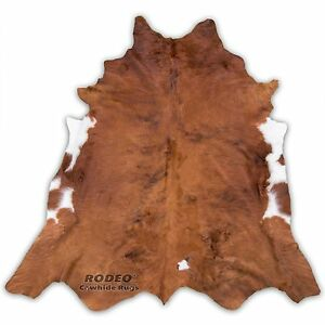 High quality Rodeo cowhide rug brown with white  edges