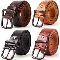 Men's Retro Metal Buckle Handcrafted Italian Full Grain Leather Jean Belt