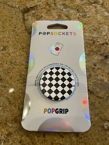 New PopSockets PopGrip Stand & Grip w/ Swappable Top - Checker Black/White