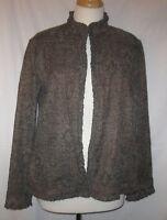 Chico's Gray Brown Ruffle Trim Jacket size 2 Blazer Women's