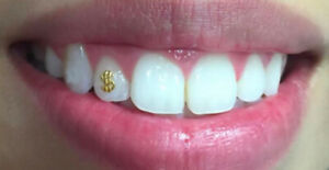 Teeth Gems Dollar Sign 22k Yellow Gold on 925 Sterling Silver Tooth Charm $ blin
