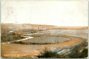 Vintage CARNEYVILLE, WYOMING Postcard Panorama View Coal Mining w/ 1908 Cancel