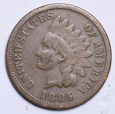 1885 INDIAN HEAD CENT PENNY / CIRCULATED GRADE GOOD / VERY GOOD 95% COPPER COIN
