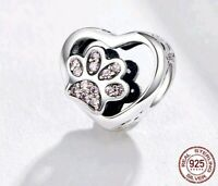 CAT HEART FOOTPRINT PENDANT  GENUINE 925 REAL STERLING SILVER CHARM PAW UK STOCK