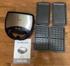 Aicok Sandwich Maker 750-Watts, 3-in-1 Detachable Non-stick Coating