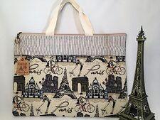 New french Fashion Canvas Tapestry  bag Handbag Pocket Paris romantic Eiffel Dog