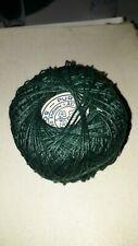 """Mercerie ancienne, écheveau vert fil 100% lin torsadé """"Au Bouton d'Or"""" tricot"""