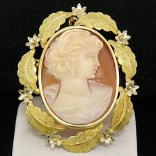 Vintage 18k Two Tone Gold Carved Shell Cameo Open Work Frame Brooch Pin Pendant