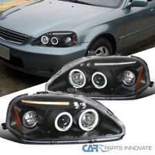 Fit 99-00 Honda Civic 2/3/4Dr Black LED Halo Projector Headlights Head Lamps