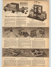 1957 PAPER AD 2 Sided Toy Trucks US Army Diesel Tractor Tank Radar Jeep Copter