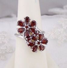 925 Sterling Silver and Garnet Double Flower Ring Size 7 Rhodium Plated