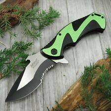 Spring-Assist Folding Pocket Knife Mtech Black Green Serrated Tac Bottle Opener