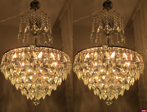 PAIR Antique Vintage Nickel/Chrome French Basket Style Crystal Chandelier Lamp