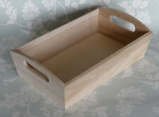 New Wooden Storage Crate trug box tray with slot handles hamper gift box