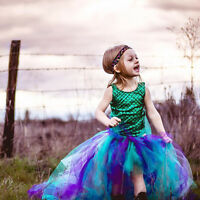 Party Princess Girl Dress Mermaid Tops Bodysuit+Tulle Tutu Skirts Outfits Set