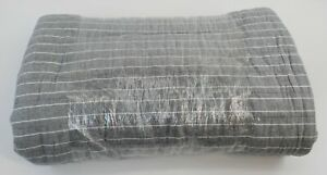 THRESHOLD Full/ Queen Quilt NEW, NOT IN PACKAGE Flannel Stripe Gray w/ White
