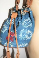 Alyria Brand Blue Embroidred Leather Backpack Hangbag Made In India BNWT