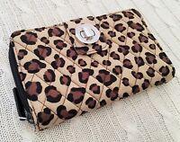 Vera Bradley Turnlock Wallet Leopard Spots Beige Large Quilted NWT MSRP $54