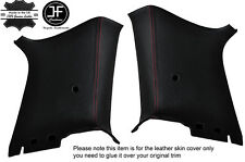 RED STICH 2X REAR C PILLAR LEATHER COVERS FITS VW GOLF MK4 JETTA 98-05 2 DOOR