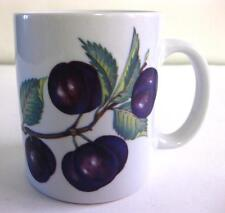 "PRE-OWNED BIA CORDON BLUE WHITE CERAMIC MUG W/ ""PLUMS"" PRINT, 10 OZ."