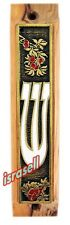 OLIVE WOOD JEWISH MEZUZAH CASE WITH SHEMA YISRAEL SCROLL - Flowers - Gift