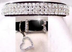~ Black Velvet Sweetheart ~ Diamond Crystal Rhinestone Dog Collar #191