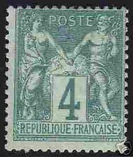 """FRANCE 1876-78 Y&T 63 """"TYPE SAGE 4c VERT"""" , NEUF xx TTB"""