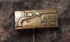 Antique Prague Shooting Festival Colt 45 Revolver Gun Show Exhibition Pin Badge