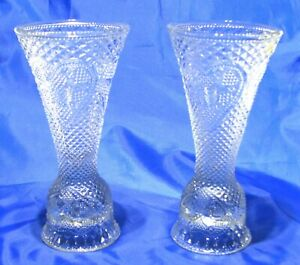 2  Exclusive Avon Design produced by Fostoria Glass Candlestick Holders