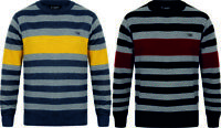 Mens Wool Look Jumper Crew Neck Fashion Yellow Wine Size S-XXL New Striped DRock