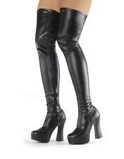 "5"" Black Latex Platform Fetish Thigh High Mens Drag Queen Crossdresser Boots"