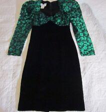 Gunne Sax Juniors Dress Size 5 Green Floral Puffy Sleeve Black Velvet 80's VTG