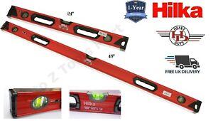 """Hilka Ribbed Spirit Level 3 Vials 24"""" & 48"""" Set Bricklaying Level 600mm & 1200mm"""