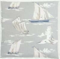 "Clarke and Clarke Skipper Boats Lighthouse Mist Grey 16"" Cushion Cover"