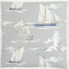 "Clarke and Clarke Skipper Boats Lighthouse Mist Grey 16"" Cushion Cover"