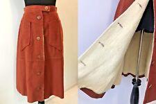 Vintage 70s John Weitz Compass Inc Burnt Orange Sherpa Lined Skirt size S XS SK8