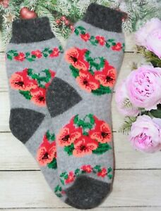SOCKS WOMEN's FLOWERS  natural Russian sheep yarn merino soft lamb wool gift 7US