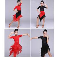 Latin Dance Dresses Kids Dancewear for Children Tassel Costume Color Stitching