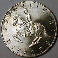 1964 Austria 5 Schillings Horseback Rider Brilliant Uncirculated Silver Coin