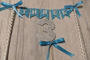 Third birthday bunting & number birthday cake topper boy  age glitter 3rd blue 3