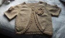 Hand Knitted Girl's Gold Belero Cardigan Ladies 10-12