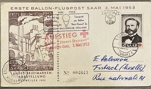FDC SPECIAL EVENT COVER BALLOON POST HOLLAND 1953