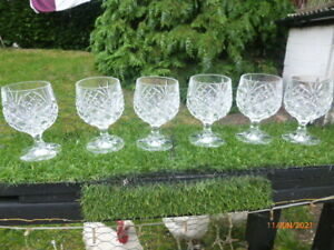 COLLECTABLE : SET of 6 CUT GLASS QUALITY BRANDY GLASSES : STUNNING : ONLY £14.99