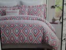 Kensie Home Reversible Twin Extra Long Duvet Cover Sham Set ~ Pink/Grey Diamond