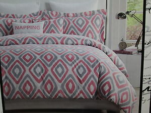 Kensie Home Reversible Full/Queen Duvet Cover Shams Set ~ Pink/Grey Diamond NEW