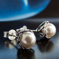 Elementos Swarovski perlas Plata 925 pendientes de botón s0132